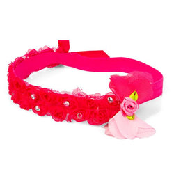 girls fuchsia floral head band_ruffntumblekids