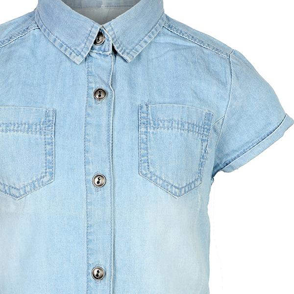 GIRLS OXFORD BUTTON DOWN DENIM SHIRT - ruffntumblekids