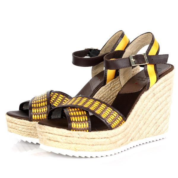 GIRLS YELLOW WEDGE SANDALS - ruffntumblekids