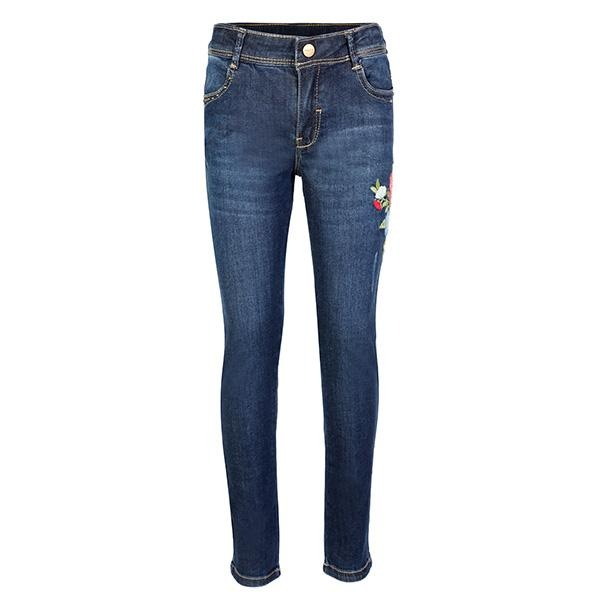 GIRLS DENIM EMBROIDERED TROUSERS - ruffntumblekids