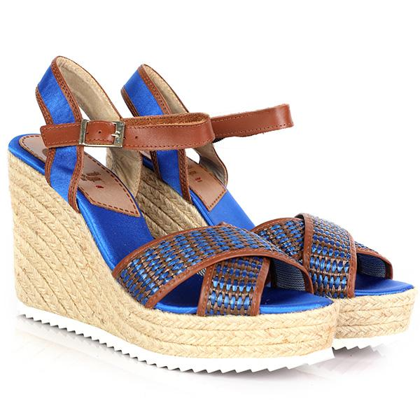 GIRLS BLUE ESPADRILLES WEDGE SANDALS - ruffntumblekids
