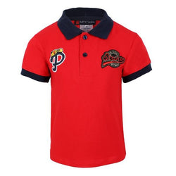 BOYS RED SHORT SLEEVE EMBROIDERY COTTON POLO - ruffntumblekids