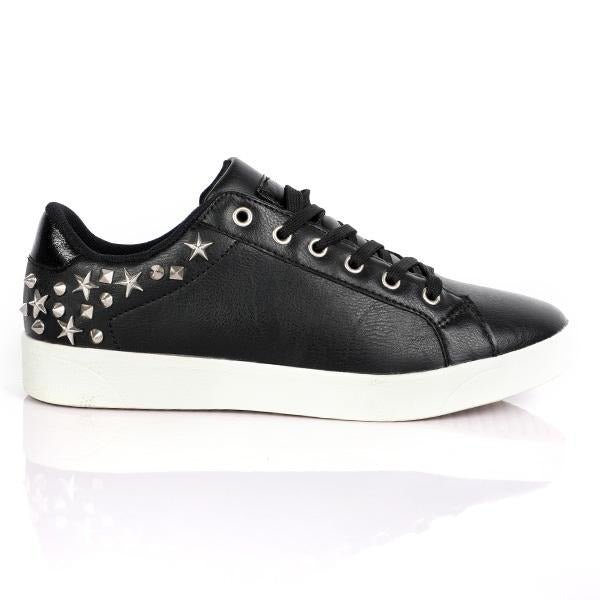 GIRLS BLACK CASUAL LACE UP SNEAKERS - ruffntumblekids