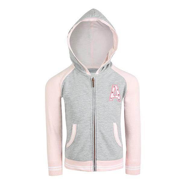 GIRLS GREY/PINK HOODIE JACKET - ruffntumblekids