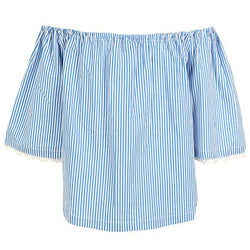 GIRLS BLUE FLORAL STRIPE BLOUSE - ruffntumblekids