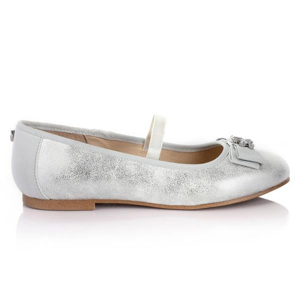 GIRLS SILVER FORMAL SHOE WITH BOW - ruffntumblekids