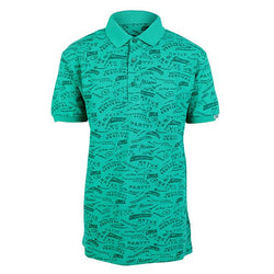 Boys Green Print Polo_Ruffntumble