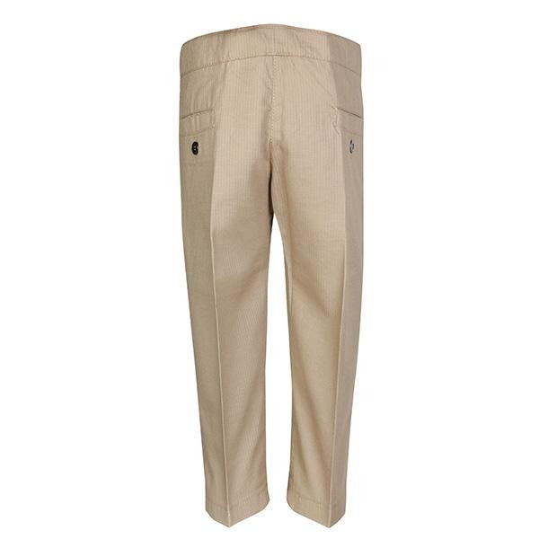 BOYS PLAIN BEIGE TINY PATTERN TROUSER - ruffntumblekids