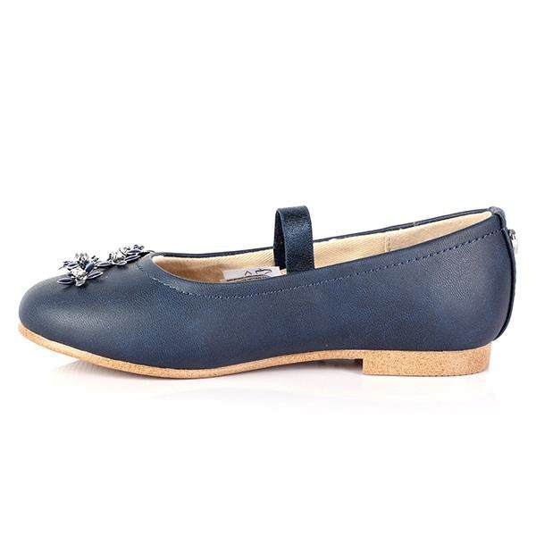 GIRLS NAVY FLOWERY FORMAL SHOES - ruffntumblekids