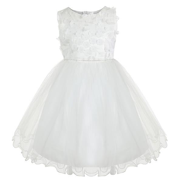 GIRLS WHITE FLORAL TULLE DRESS - ruffntumblekids