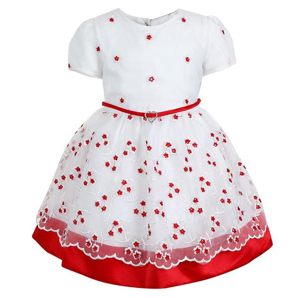 GIRLS WHITE AND RED FIT & FLARE DRESS - ruffntumblekids