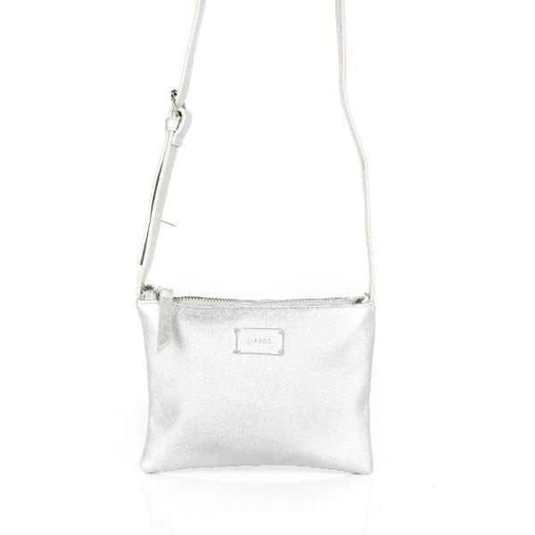 GIRLS SILVER LEATHER SLING BAG - ruffntumblekids