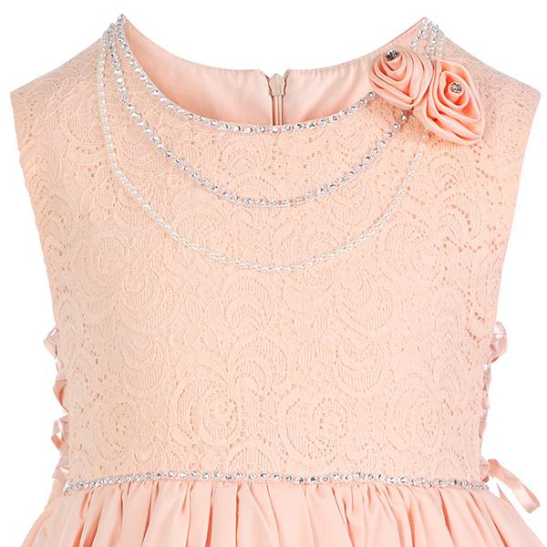 GIRLS PEACH LACE FIT AND FLARE DRESS - ruffntumblekids