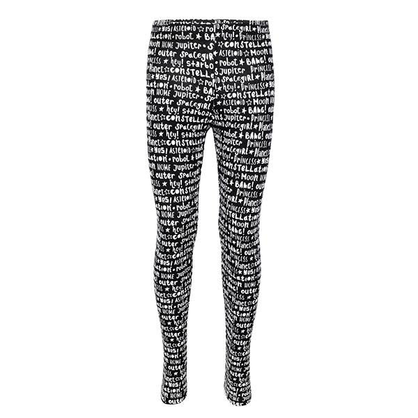 Black Letters Print Leggings_Ruffntumble
