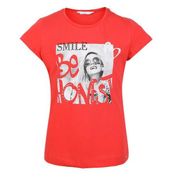 GIRLS RED SHORT SLEEVE SMILE GIRL T-SHIRT