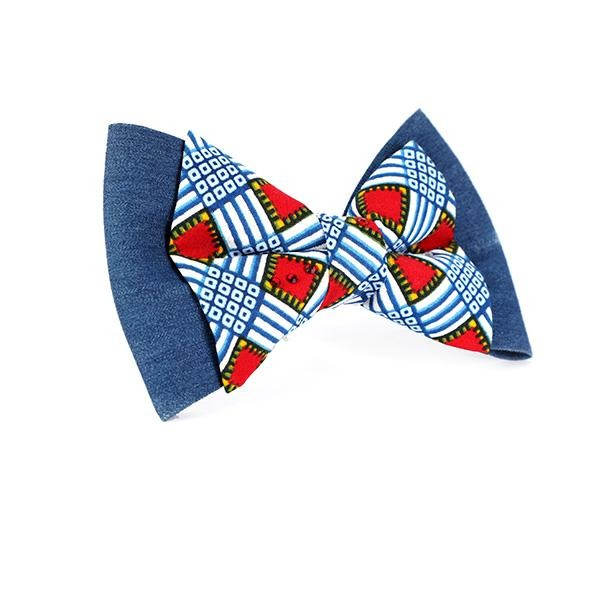 GIRLS BLUE ANKARA STONED HAIR BOW - ruffntumblekids