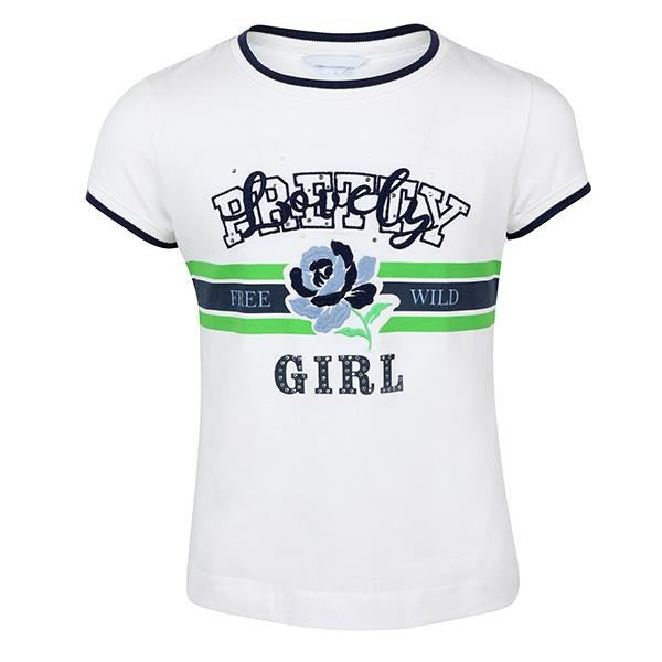 GIRLS WHITE/MINT 'PRETTY GIRL' T-SHIRT - ruffntumblekids