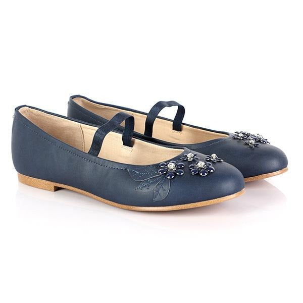 GIRLS NAVY FLOWERY FORMAL SHOE - ruffntumblekids