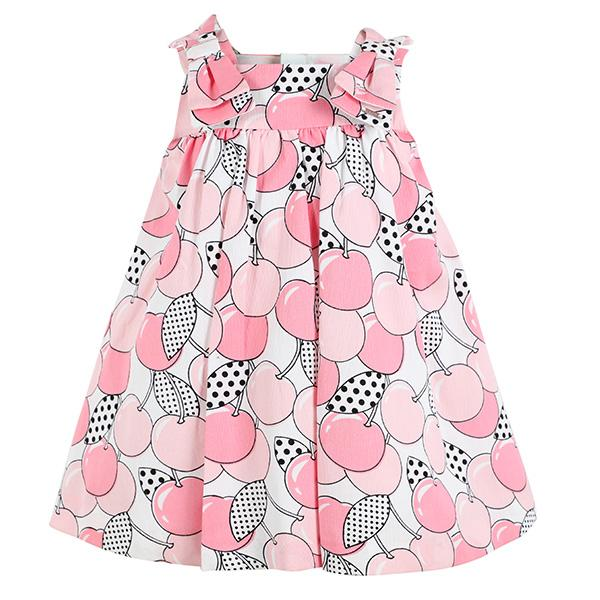 GIRLS ROSE PINK CHERRY PRINT DRESS - ruffntumblekids
