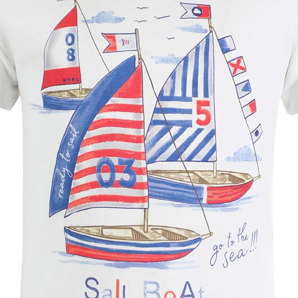 BOYS WHITE SHORT SLEEVE SAILOR T-SHIRT - ruffntumblekids