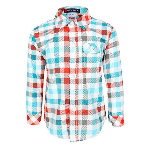BABY BOY MULTI COLOR LONG SLEEVE CHECK SHIRT - ruffntumblekids