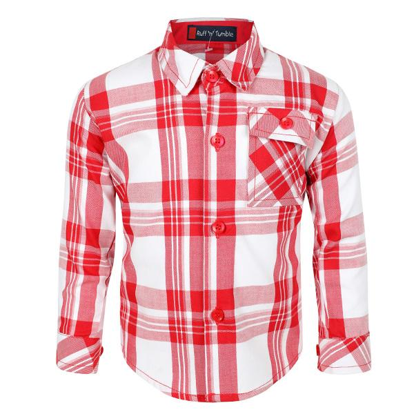 BABY BOY RED CHECK LONG SLEEVE SHIRT - ruffntumblekids