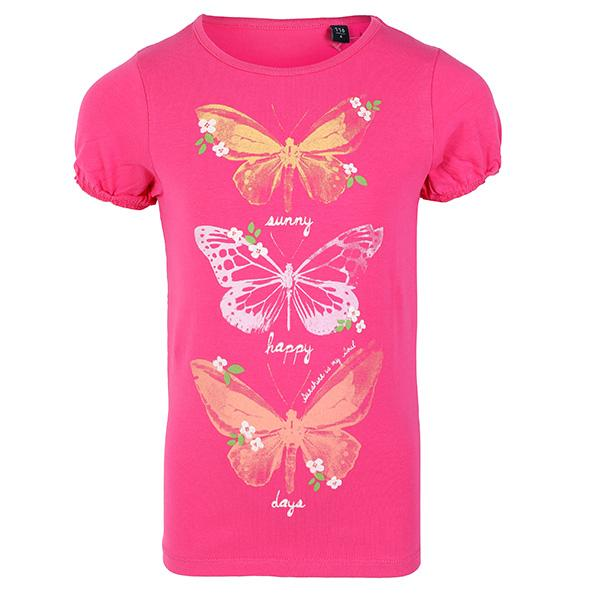 GIRLS PINK BUTTERFLY DESIGNED TOP - ruffntumblekids