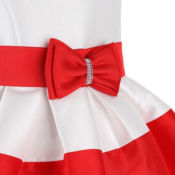 Red/White Stripe Bow Knot Waist Ball Dress