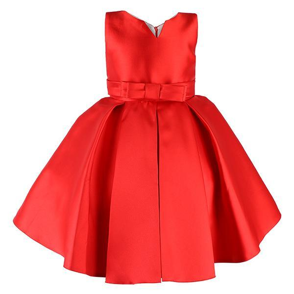 Red Pleated Dress With Decorative Brooch