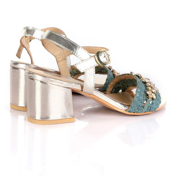 GIRLS BLUE FANCY BLOCK HEEL SANDALS - ruffntumblekids