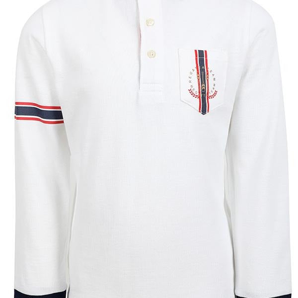 BOYS WHITE LONG SLEEVE FLAG PRINT POLO - ruffntumblekids