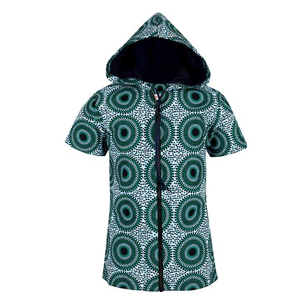 BOYS GREEN SHORT SLEEVES ANKARA HOODIE SHIRT - ruffntumblekids