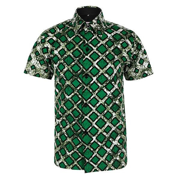 BOYS GREEN SHORT SLEEVES ANKARA PRINT SHIRT - ruffntumblekids
