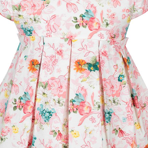 BABY GIRLS APRICOT SATIN PRINTED DRESS - ruffntumblekids