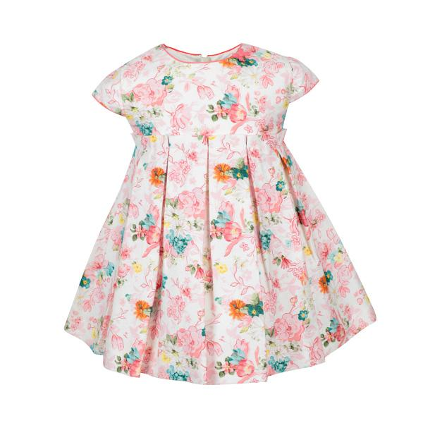 BABY GIRLS APRICOT SATIN PRINTED DRESS