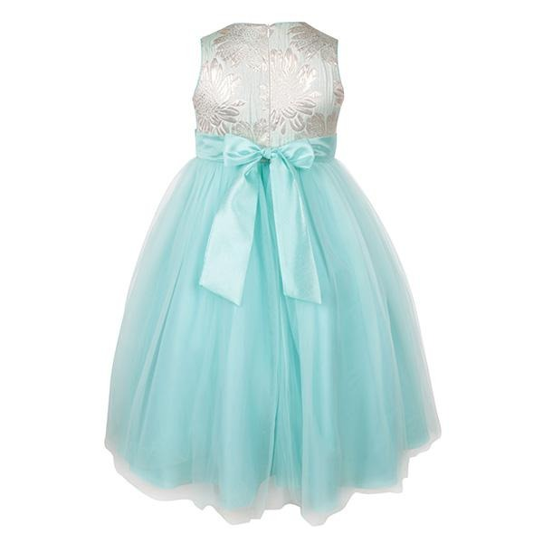 BIG GIRLS AQUA DAMASK BALL DRESS WITH BOW
