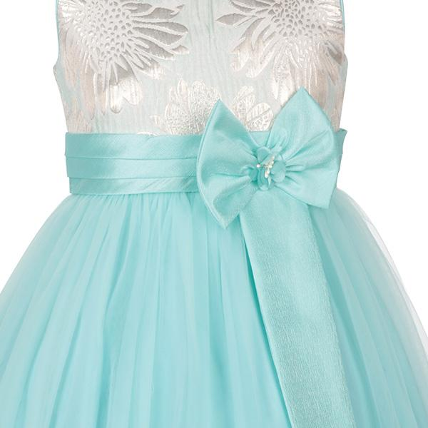 AQUA DAMASK BALL DRESS WITH BOW