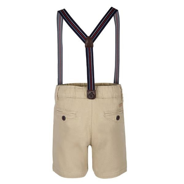 BOYS BEIGE CHINO SHORT WITH SUSPENDERS
