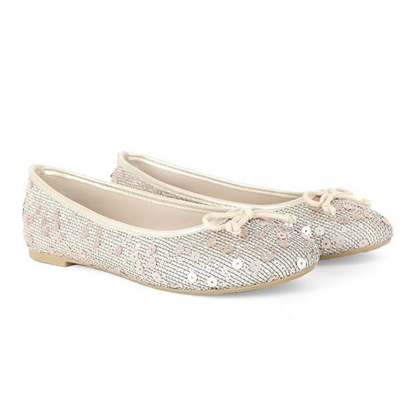 BIG GIRLS BEIGE SEQUIN BALLERINA SHOE - ruffntumblekids