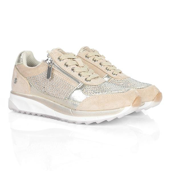 BEIGE LACE UP SNEAKERS-ruffntumblekids.com