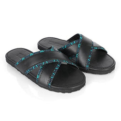 BLACK CROSSED SLIPPERS