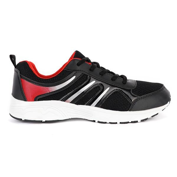 BOYS BLACK/RED LACE UP SNEAKERS - ruffntumblekids
