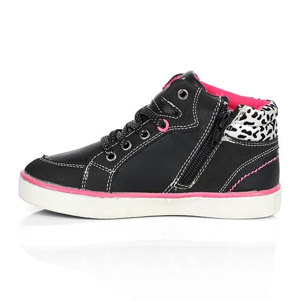 BABY GIRLS BLACK/SILVER HIGH SNEAKERS