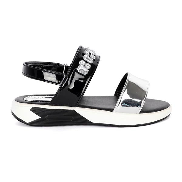 BIG GIRLS BLACK/SILVER SANDALS