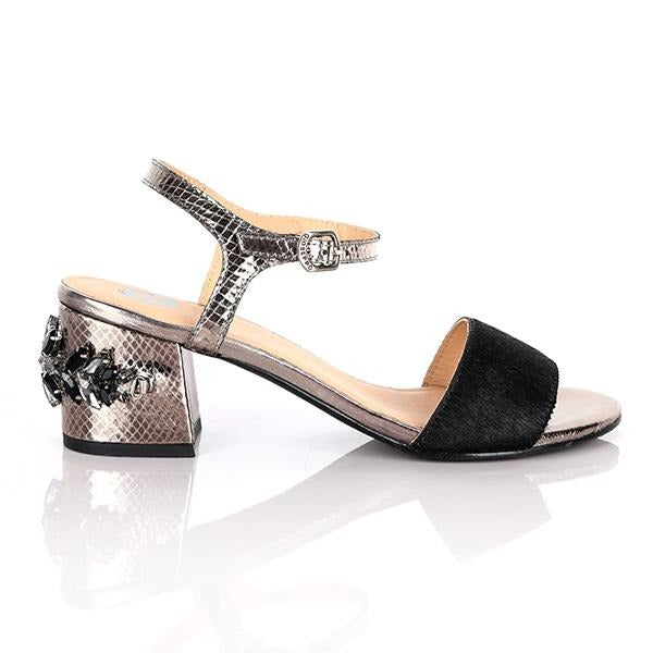 BIG GIRLS BLACK BLOCK HEEL SANDALS
