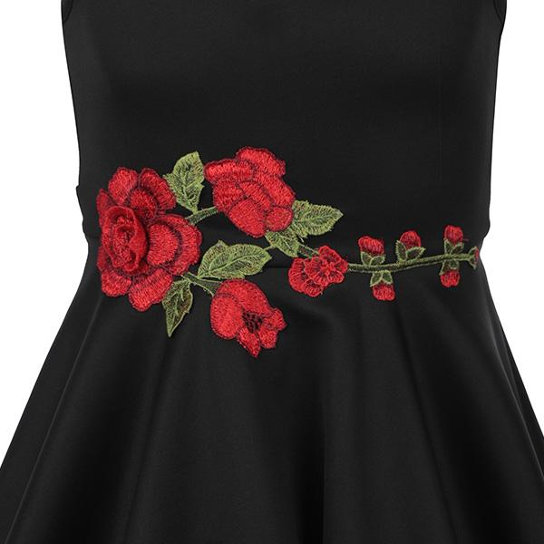 BIG GIRLS BLACK FIT AND FLARE ROSE DRESS WITH REAR BOW