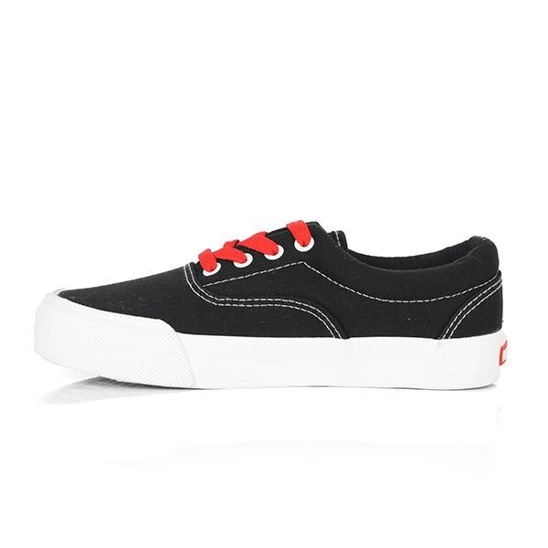 BOYS BLACK AND RED LACE UP SNEAKERS