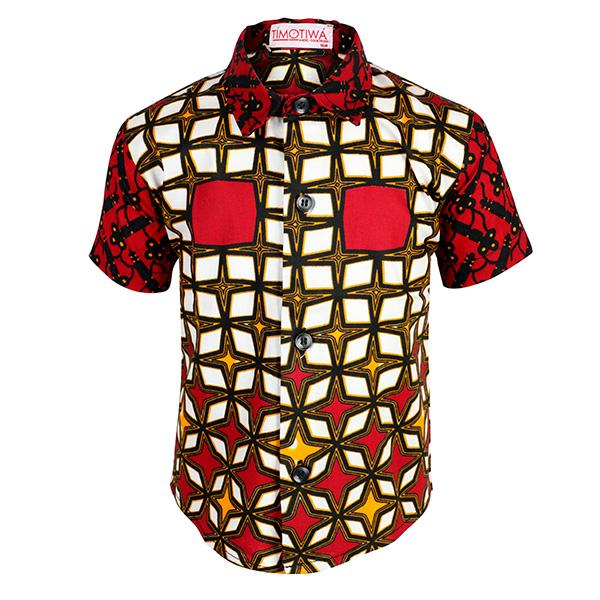 BLACK, RED ANKARA SHIRT