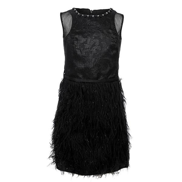 BLACK SLEEVELESS TASSLE DRESS