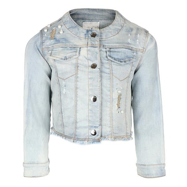 BIG GIRLS BLEACHED DENIM JACKET - ruffntumblekids